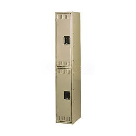 Tennsco Steel Locker DTS-121236-1 214 - Double Tier With Legs 1 Wide 12x12x36 Assembled, Sand