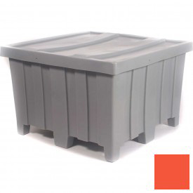 """Myton Forkliftable Bulk Shipping Container MTD-2 with Lid - 44""""L x 44""""W x 29-1/2""""H, Orange"""
