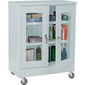 Sandusky Mobile Clear View Counter Height Storage Cabinet TA2V362442 -36x24x48, Light Gray