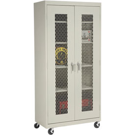 Sandusky Mobile Clear View Storage Cabinet TA4V461872 - 46x18x78, Putty