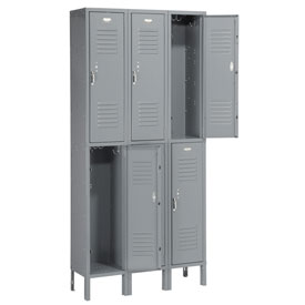 Penco 6211V-3-028KD Vanguard Locker Pull Latch Double Tier 12x12x30 6 Doors Unassembled Gray