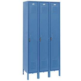 Penco 6163V-3-806KD Vanguard Locker Pull Latch SingleTier 12x15x72 3 Doors Unassembled Marine Blue