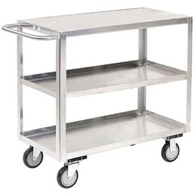 Jamco Stainless Steel Stock Cart XA124 3 Shelves Flush Top Shelf 24x18