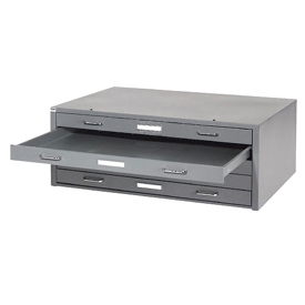 "Interion™ - Blueprint Flat File Cabinet – 5 Drawer - 41""W – Gray"