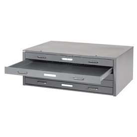 "Interion® - Blueprint Flat File Cabinet – 5 Drawer - 47""W – Gray"