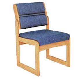 Single Chair Without Arms Medium Oak Blue Fabric
