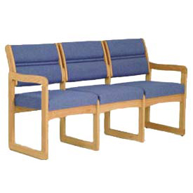 3 Seater Reception Sofa With 2 End Arms Medium Oak Blue Fabric