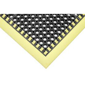 "7/8"" Thick Hi-Visibility Safety Mat with Borders on 3 Sides - 38x52 Yellow"