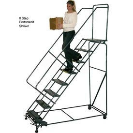 "3 Step 16""W Steel Safety Angle Rolling Ladder W/ Handrails - Perforated Tread"