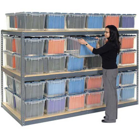 "Record Storage Rack Gray 48""W  x  48""D  x  60""H With Polyethylene File Boxes"