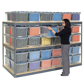 "Record Storage Rack Gray 96""W x 24""D x 60""H With  Polyethylene File Boxes"