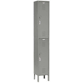 Capital™ Locker Double Tier 12x15x36 2 Door Ready To Assemble Gray