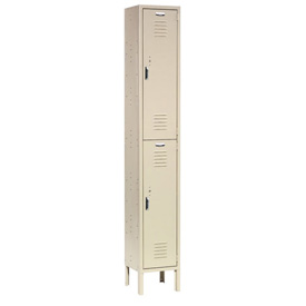 Paramount® Locker Double Tier 12x12x36 2 Door Ready To Assemble Tan