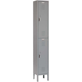 Paramount® Locker Double Tier 12x18x36 2 Door Ready To Assemble Gray