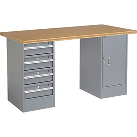 "60"" W x 30"" D Pedestal Workbench W/4 Drawers & Cabinet, Shop Top Square Edge - Gray"