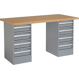 "60"" W x 30"" D Pedestal Workbench W/ 8 Drawers, Shop Top Square Edge - Gray"