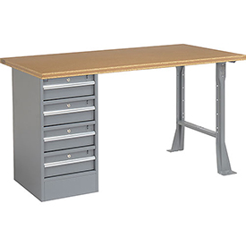 "60"" W x 30"" D Pedestal Workbench W/ 4 Drawers, Shop Top Square Edge - Gray"