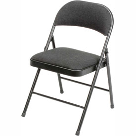 Padded Fabric Folding Chair - Black - Pkg Qty 4