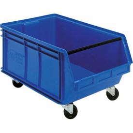Quantum Mobile Magnum Plastic Stackable Storage Bin QUS275MOB 16-1/2 x 18 x 11 Blue - Pkg Qty 3