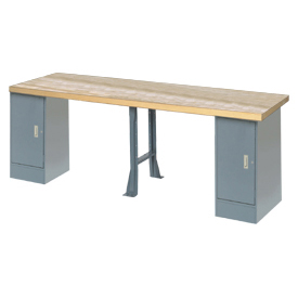 "144"" W x 30"" D Extra Long Industrial Workbench, Maple Butcher Block Square Edge - Gray"