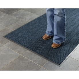 Chevron Ribbed  Mat 2x3 Slate Blue
