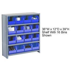 Steel Closed Shelving with 21 Blue Plastic Stacking Bins 6 Shelves - 36x12x39
