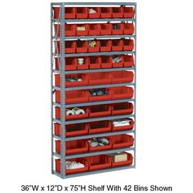 Steel Open Shelving with 21 Red Plastic Stacking Bins 6 Shelves - 36x12x39