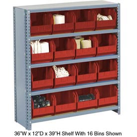 Steel Closed Shelving with 16 Red Plastic Stacking Bins 5 Shelves - 36x12x39