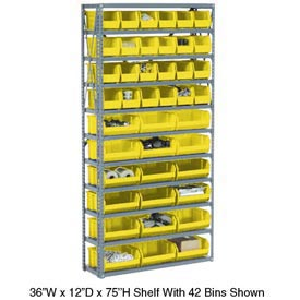 Steel Open Shelving with 17 Yellow Plastic Stacking Bins 6 Shelves - 36x12x39