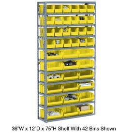 Steel Open Shelving with 18 Yellow Plastic Stacking Bins 10 Shelves - 36x18x73