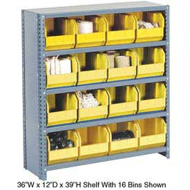 Steel Closed Shelving with 21 Yellow Plastic Stacking Bins 6 Shelves - 36x12x39