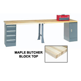 "144"" W x 30"" D Extra Long Production Workbench, Maple Butcher Block Square Edge - Gray"