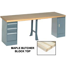 "96"" W x 30"" D Extra Long Production Workbench, Maple Butcher Block Square Edge - Gray"