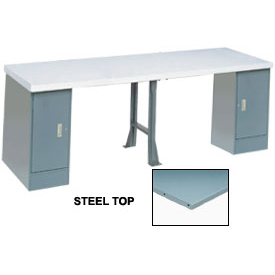 "144"" W x 30"" D Extra Long Production Workbench, Steel Square Edge - Gray"