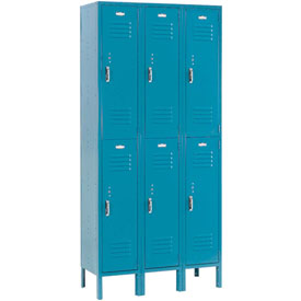 Paramount® Locker Double Tier 12x15x36 6 Door Assembled Blue