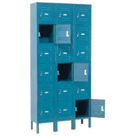 Paramount® Locker Six Tier 12x12x12 18 Door Assembled Blue