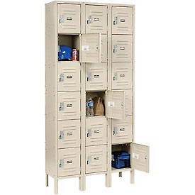 Paramount® Locker Six Tier 12x12x12 18 Door Assembled Tan