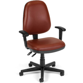 OFM Antimicrobial Office Chair with Arms - Vinyl - Mid Back - Burgundy