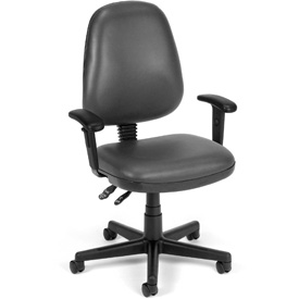 OFM Antimicrobial Office Chair with Arms - Vinyl - Mid Back - Gray