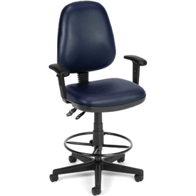OFM Straton Series Swivel Task Chair with Arms and Drafting Kit, Anti-Microbial Vinyl, Navy