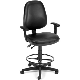 OFM Antimicrobial Stool With Arms - Vinyl - Black