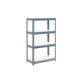 "Extra Heavy Duty Shelving 36""W x 12""D x 60""H With 4 Shelves, 1500 lbs. Capacity Per Shelf, Gray"