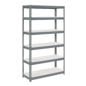 "Extra Heavy Duty Shelving 48""W x 24""D x 84""H Gray With 6 Shelves, 1200 lbs. Capacity Per Level"