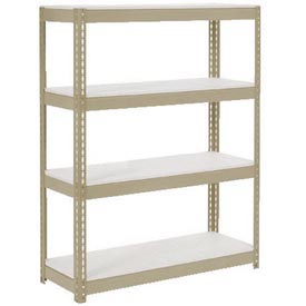 "Extra Heavy Duty Shelving 48""W x 12""D x 60""H With 4 Shelves,1500 lbs. Capacity Per Shelf, Tan"