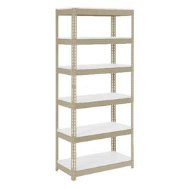 "Extra Heavy Duty Shelving 36""W x 12""D x 60""H With 6 Shelves, 1500 lbs. Capacity Per Shelf, Tan"