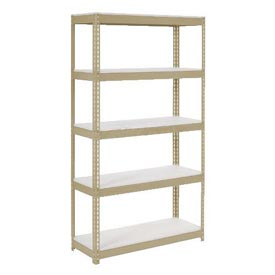 "Extra Heavy Duty Shelving 36""W x 12""D x 84""H With 5 Shelves, 1500 lbs. Capacity Per Shelf, Tan"
