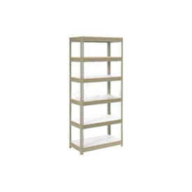 "Extra Heavy Duty Shelving 36""W x 18""D x 84""H With 6 Shelves, 1500 lbs. Capacity Per Shelf, Tan"