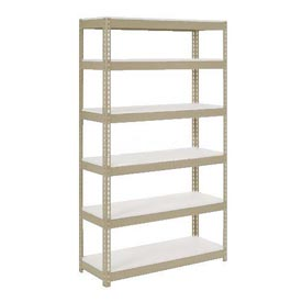 "Extra Heavy Duty Shelving 48""W x 24""D x 84""H With 6 Shelves, 1200 lbs. Capacity Per Shelf, Tan"