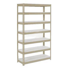 "Extra Heavy Duty Shelving 48""W x 24""D x 84""H With 7 Shelves, 1200 lbs. Capacity Per Shelf, Tan"