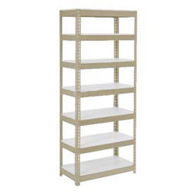 "Extra Heavy Duty Shelving 36""W x 18""D x 96""H With 7 Shelves, 1500 lbs. Capacity Per Shelf, Tan"